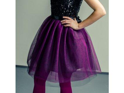 tylová sukně TUTU black magenta