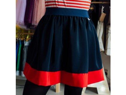 áčková sukně Tricol poly blue červený lem