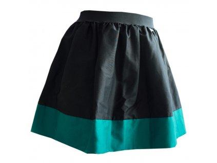 áčková sukně Tricol black tyrkysový lem
