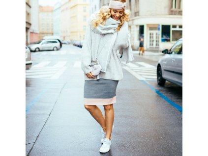 Merino sukně s růžovým pruhem