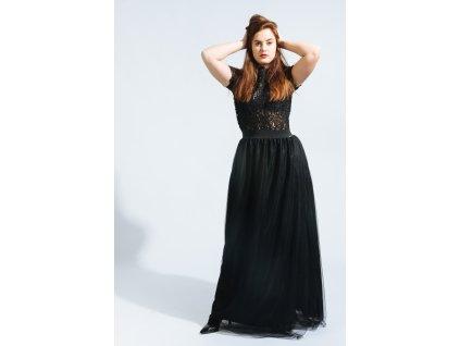 Dlouhá elegantní sukně TUTU black s rozparkem