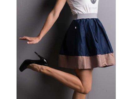 áčková sukně Tricol blue s béžovým lemem