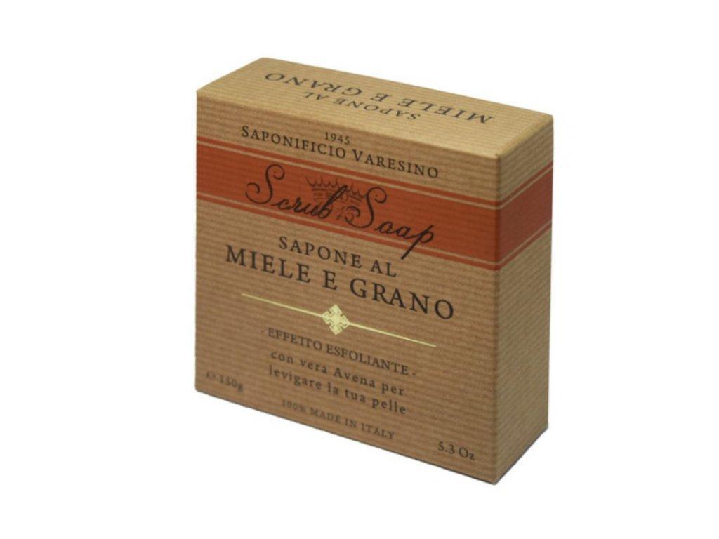 Saponificio Varesino Scrub toaletní mýdlo - med & pšeničné vločky