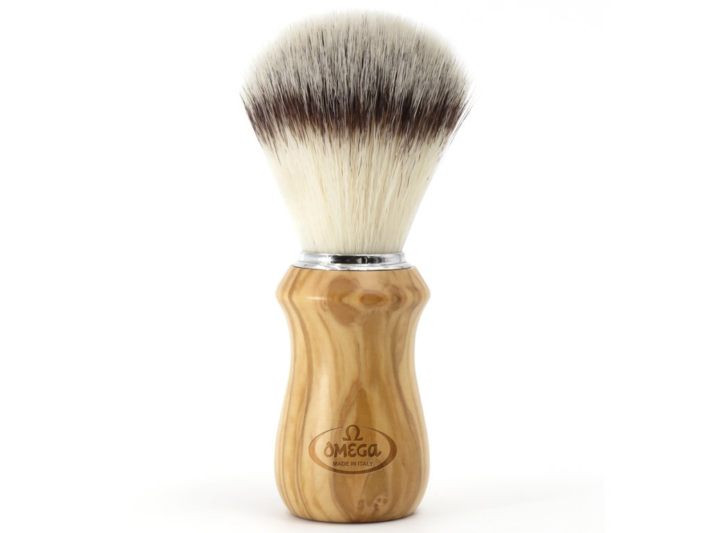Omega Hi-Brush 46832 - štětka na holení ze syntetických vláken (rukojeť z olivového dřeva)