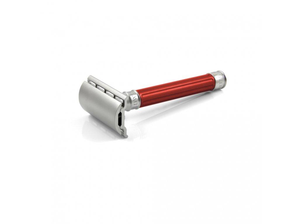 červený holicí strojek Edwin Jagger 3ONE6 Stainless Steel