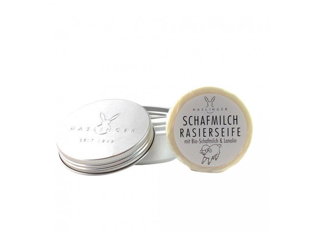 Haslinger Schafmilch mýdlo na holení v hliníkové dóze