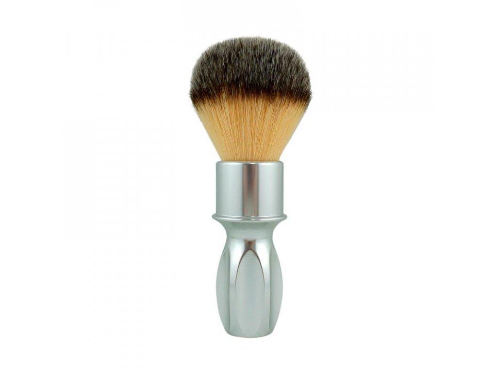 štětka na holení ze syntetických vláken RazoRock 400 Plissoft stříbrná rukojeť