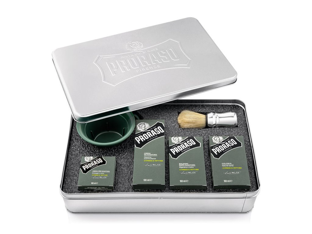 Proraso Cypress & Vetyver complete set in metal box