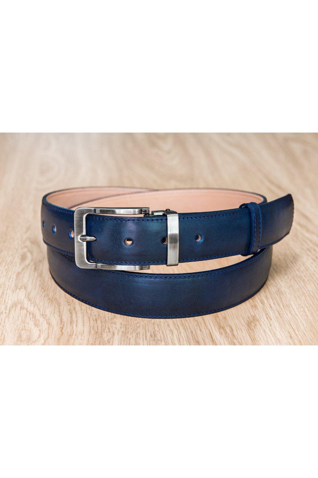 Kožený pásek na míru - modrý - klasická spona