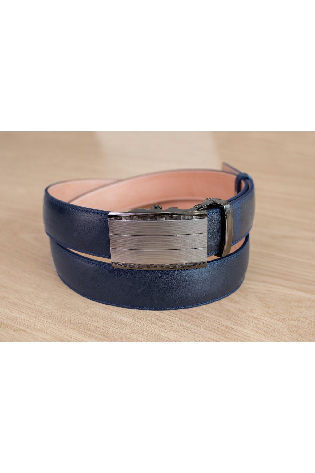Kožený pásek na míru - modrý - automatický