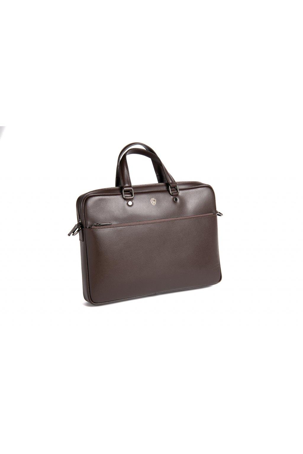 Menší kožená taška na notebook - tmavě hnědá