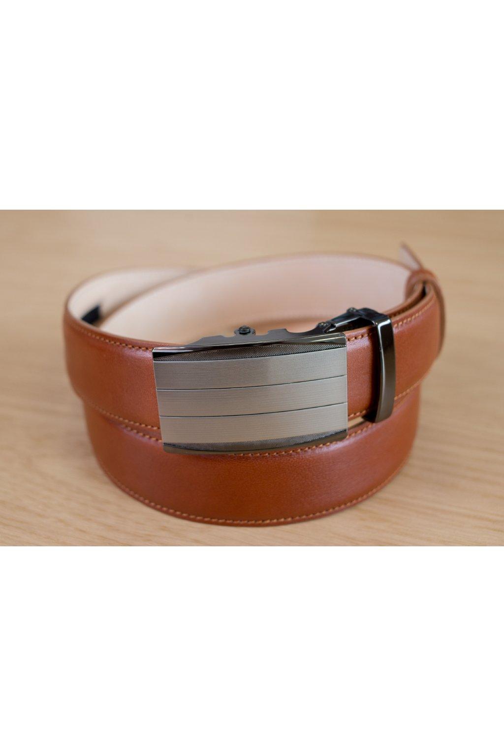 Kožený pásek na míru - světle hnědý - automatická spona