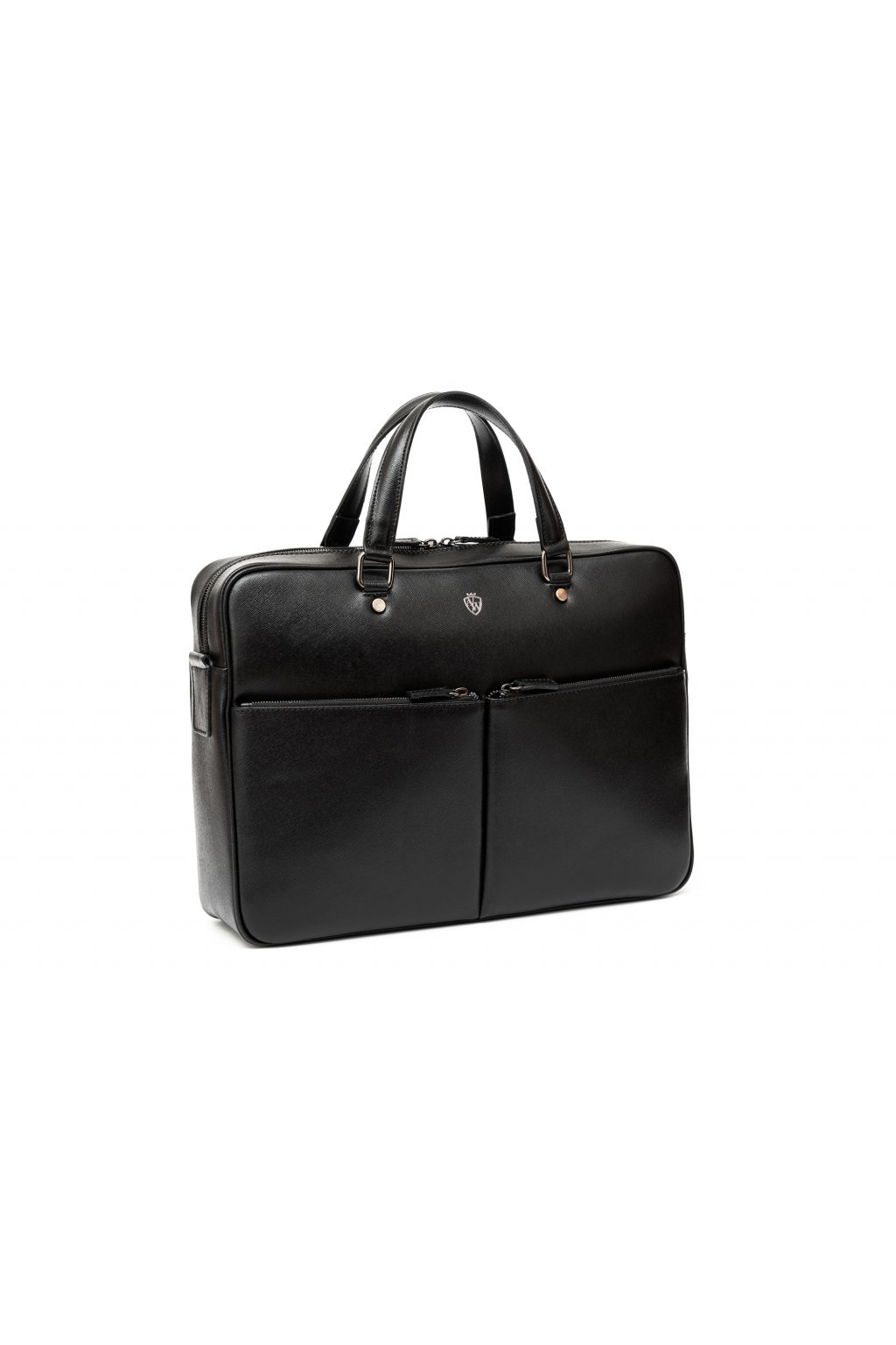 Větší kožená taška na notebook - černá
