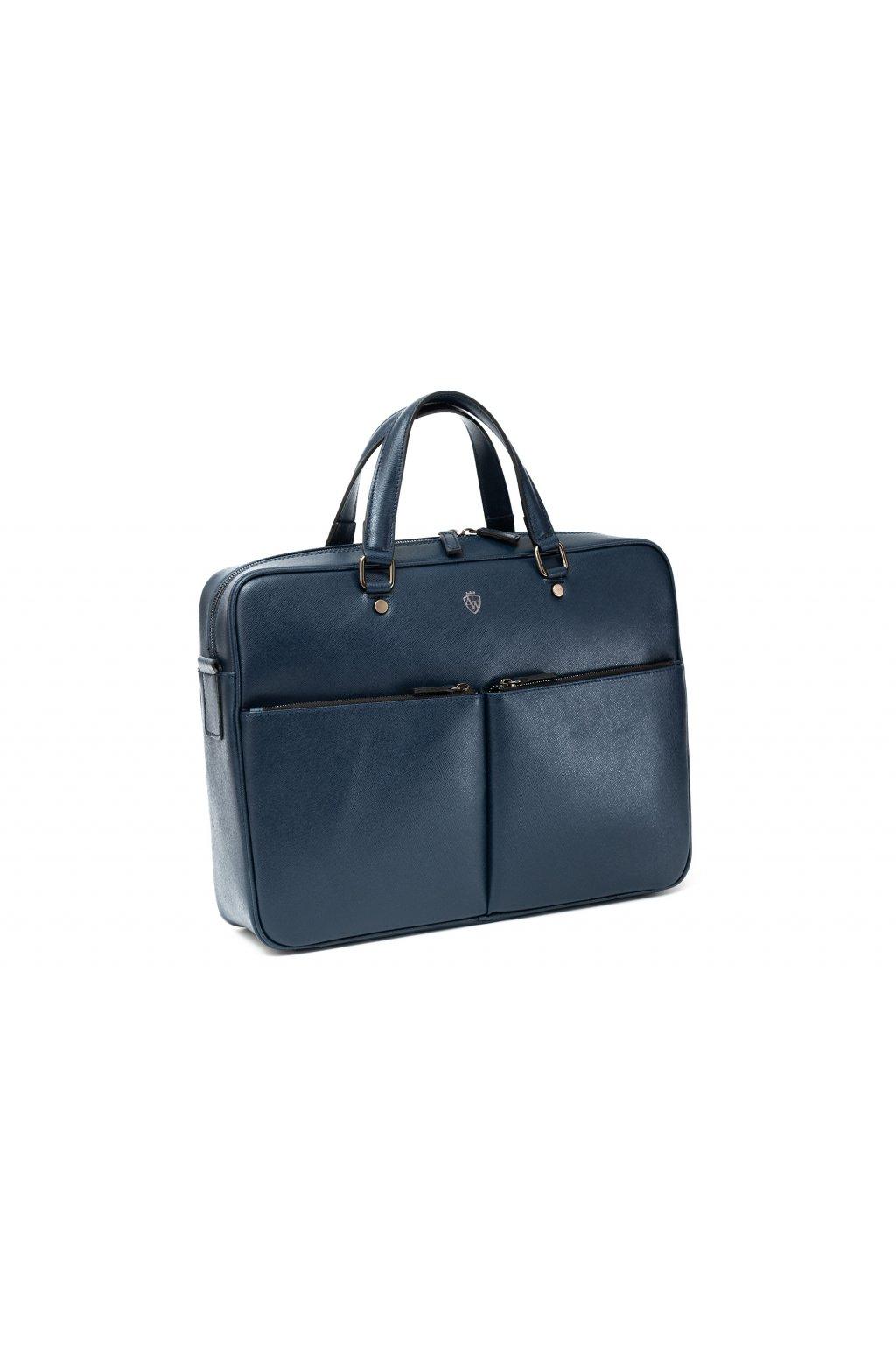 Větší kožená taška na notebook - tmavě modrá