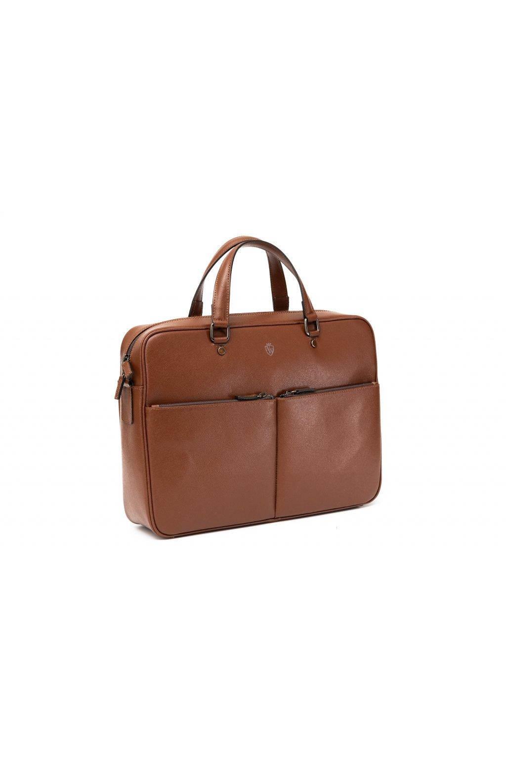 Větší kožená taška na notebook - hnědá