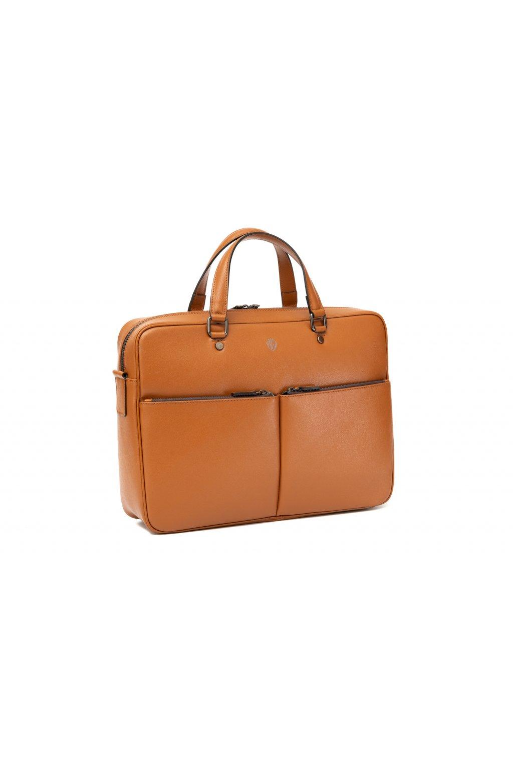Větší kožená taška na notebook - světle hnědá