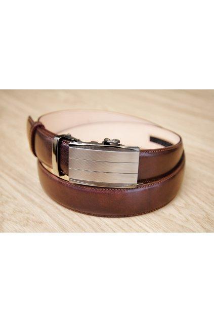 Kožený pásek na míru - hnědý - automatická spona