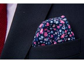 Kapesník navy s květinovým vzorem