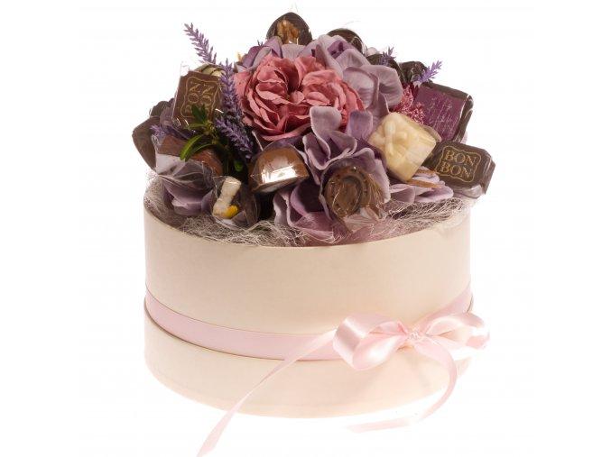 Květinový box krémový 300 g. pralinek