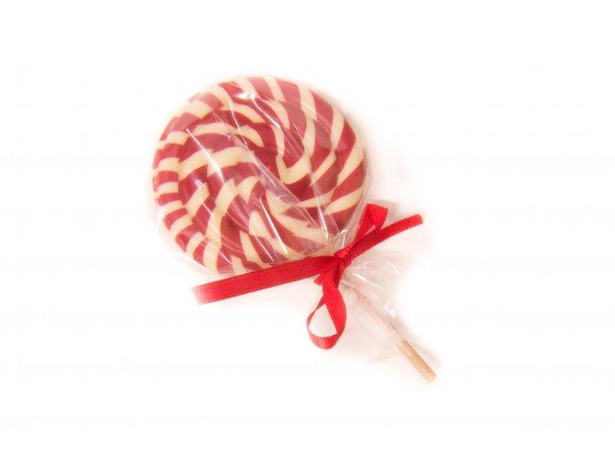lízátko - bílá čokoláda - červené pruhy