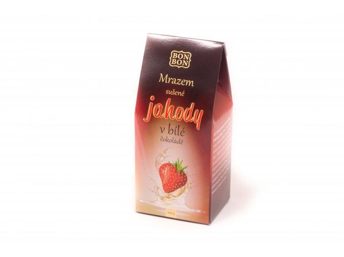 Mrazem sušené jahody v bílé čokoládě 100 g.