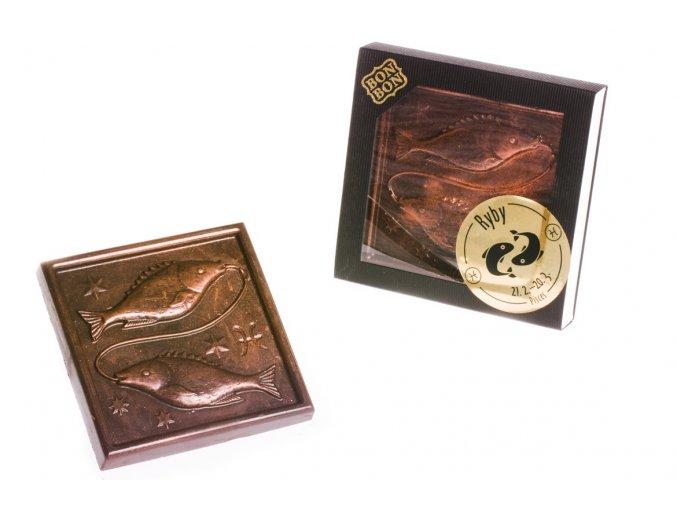 ZNAMENÍ RYBY  hořká/mléčná čokoláda 100 g.