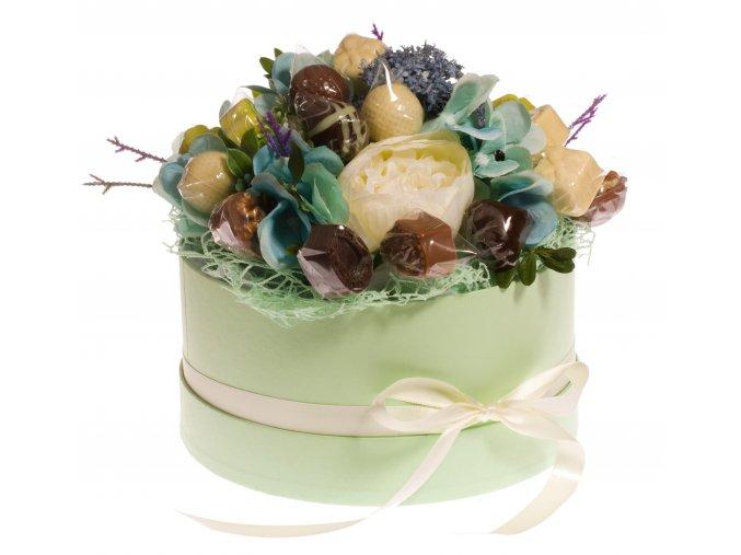 Květinový box zelený 300 g. pralinek