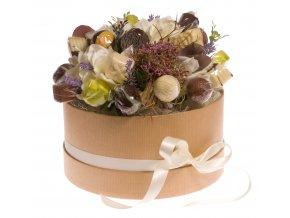 Květinový box hnědý 18 ks pralinek