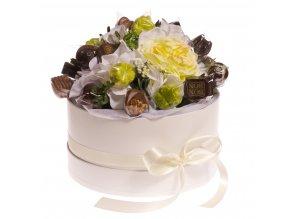 Květinový box bílý 18 ks pralinek