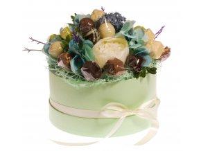 Květinový box zelený 18 ks pralinek