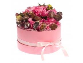 Květinový box růžový 300 g. pralinek