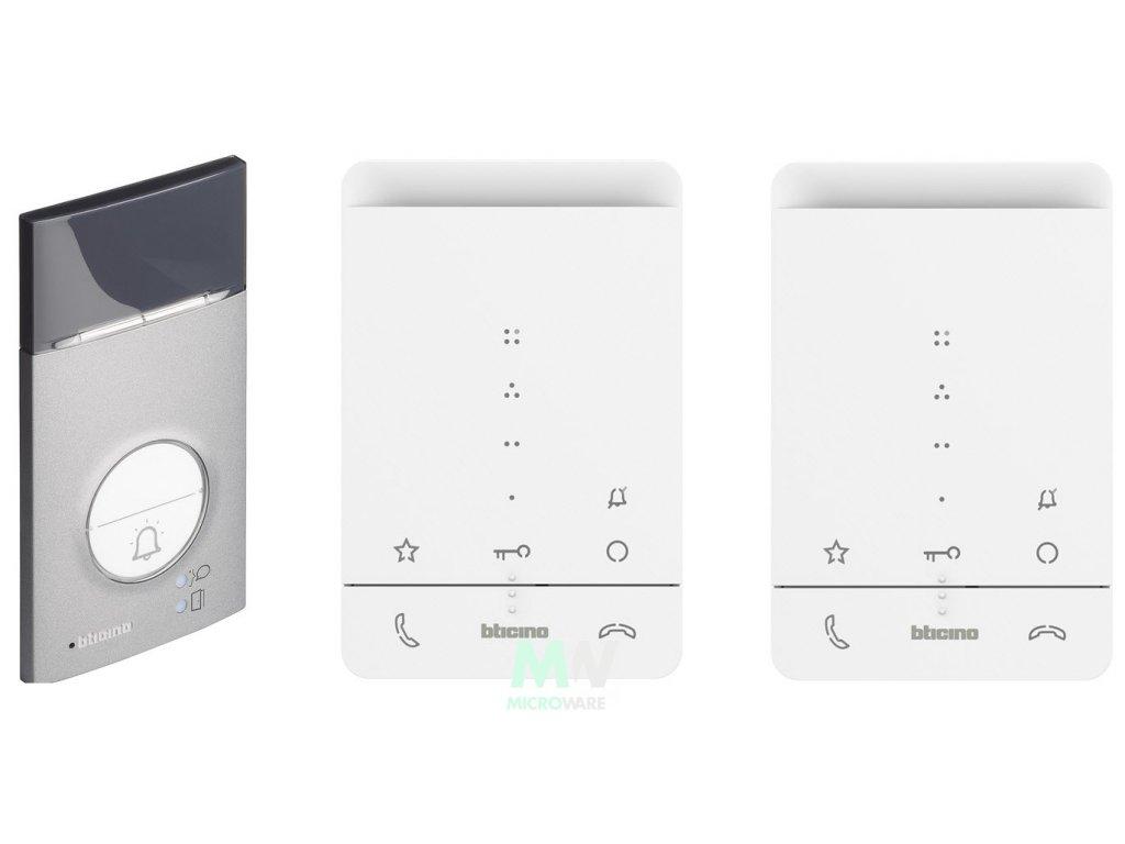 Bticino 364232 handsfree sada pro 2 byty (audiotelefon Classe 100 standard+ vstupní panel Linea 3000)