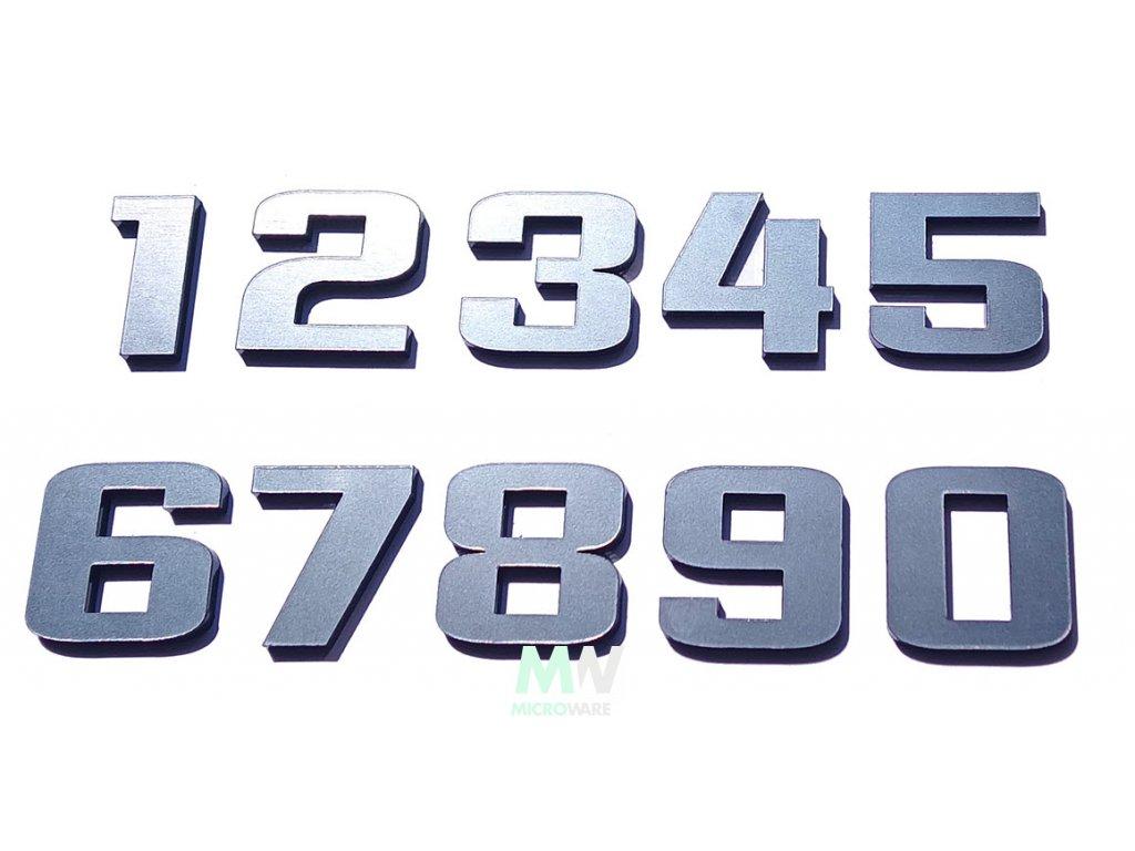 Číslice na bytové a domovní dveře - nalepovací, chrom-kov, plastické