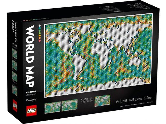 Lego Art 31203 Mapa světa  + volná rodinná vstupenka do Muzea LEGA Tábor v hodnotě 370 Kč