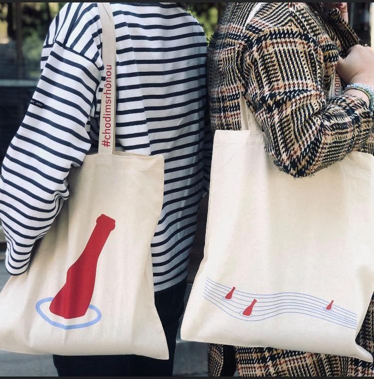 Tašky #chodímsrhônou nejen na nákup vína