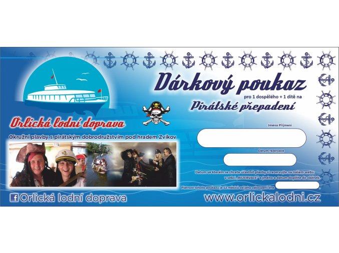 Orlická lodní dárkový poukaz piráti
