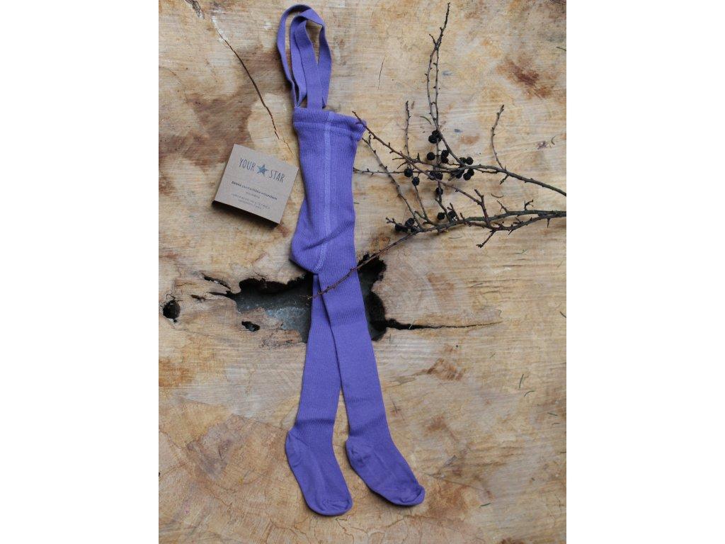 Retro punčocháčky s kšandami - fialové