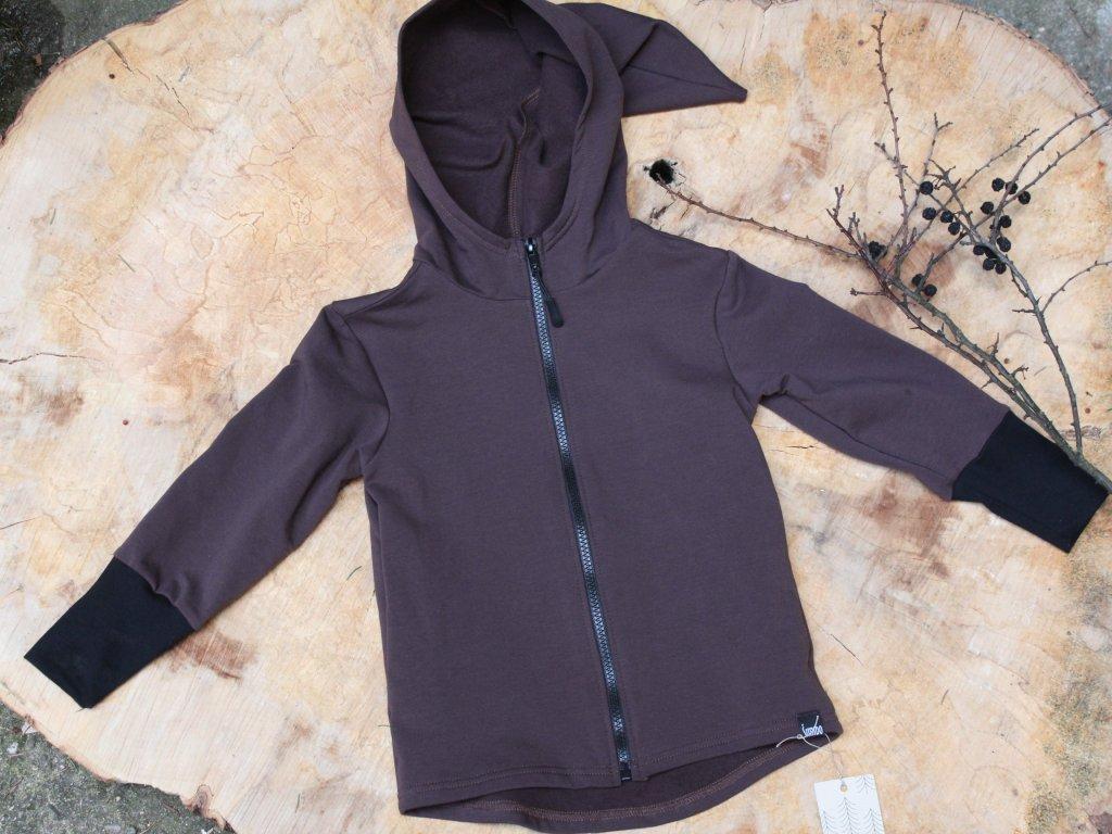 Bavlněná mikina hnědá s kapucí na zip 2-4Y