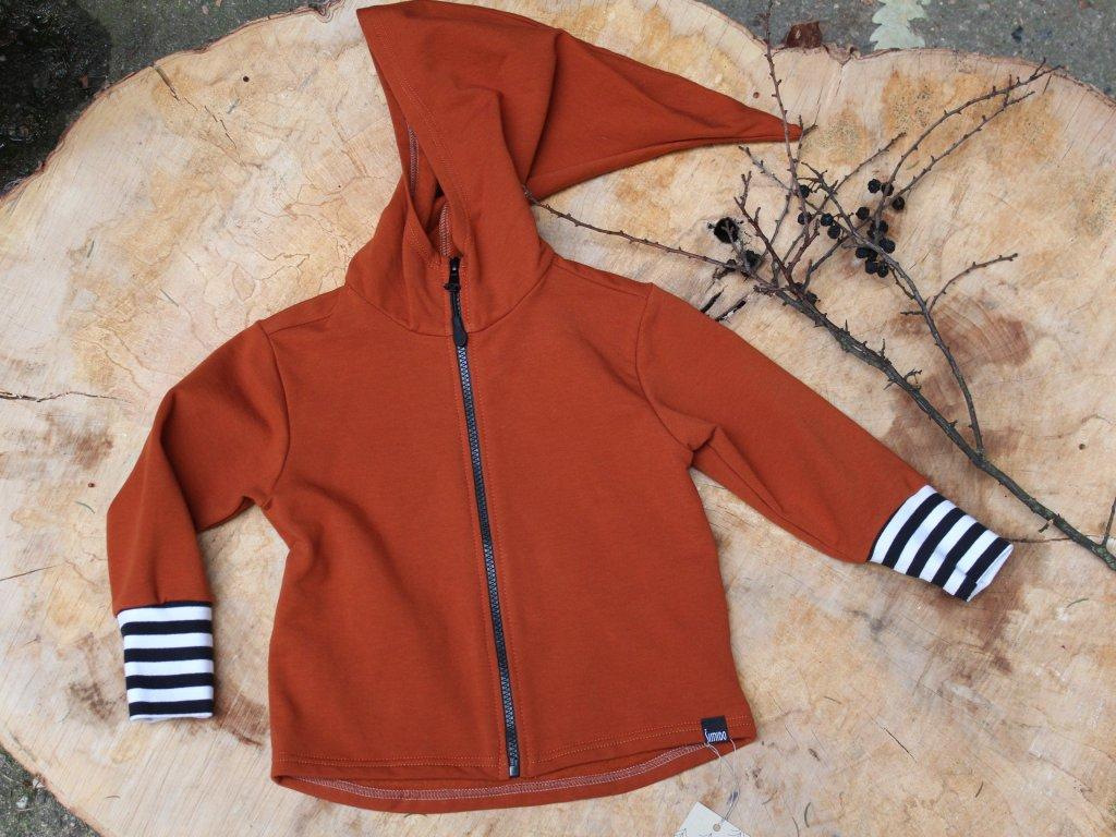 Bavlněná mikina zrzavá s kapucí s proužkem na zip