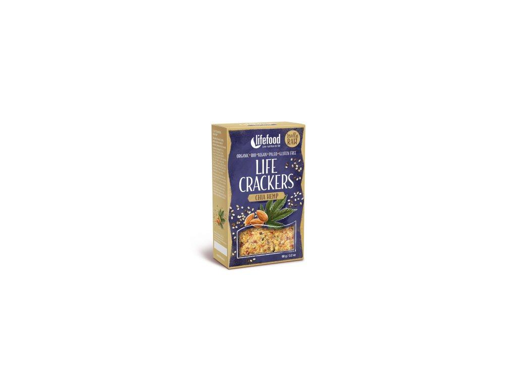 Life Crackers CHIA HEMP konopne placky s chia bio raw lifefood 400 400