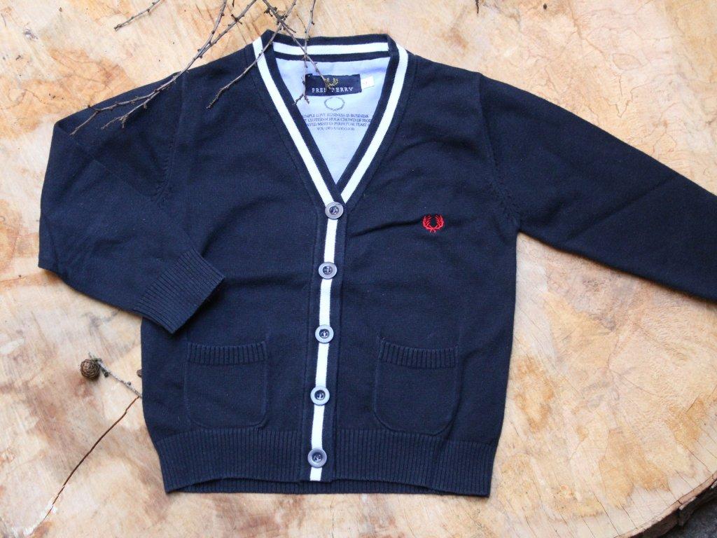 tmavě modrý propínací svetr Fred Perry 4Y