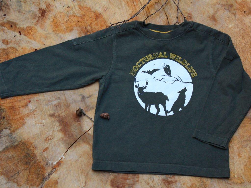 zelená mikina Nocturnal Wildlife 4Y