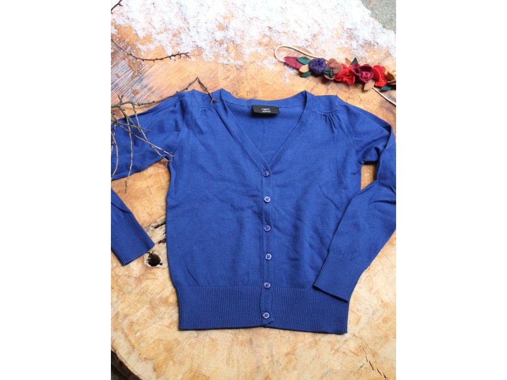 modrý propínací svetr Next 8Y
