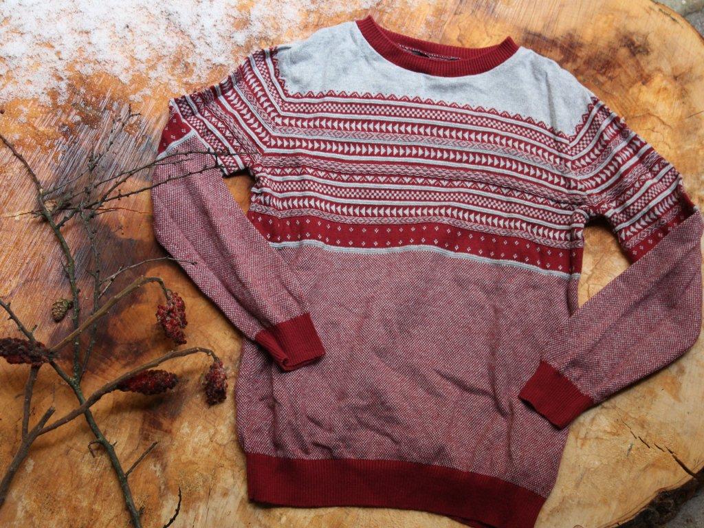 červeno-šedý svetr George 8-9Y