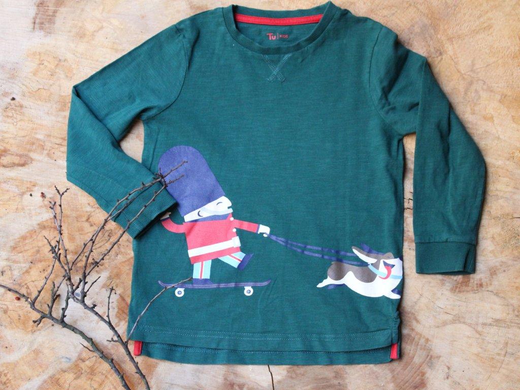 tričko zelené vánoční s dlouhým rukávem TU 3-4Y