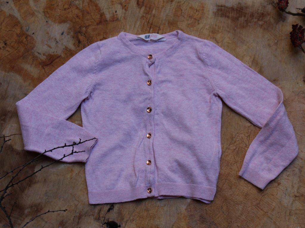 růžový propínací svetřík H&M 4-6Y