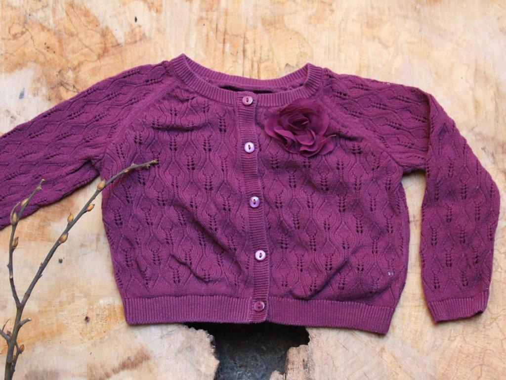 fialový propínací svetřík Matalan 9-12M
