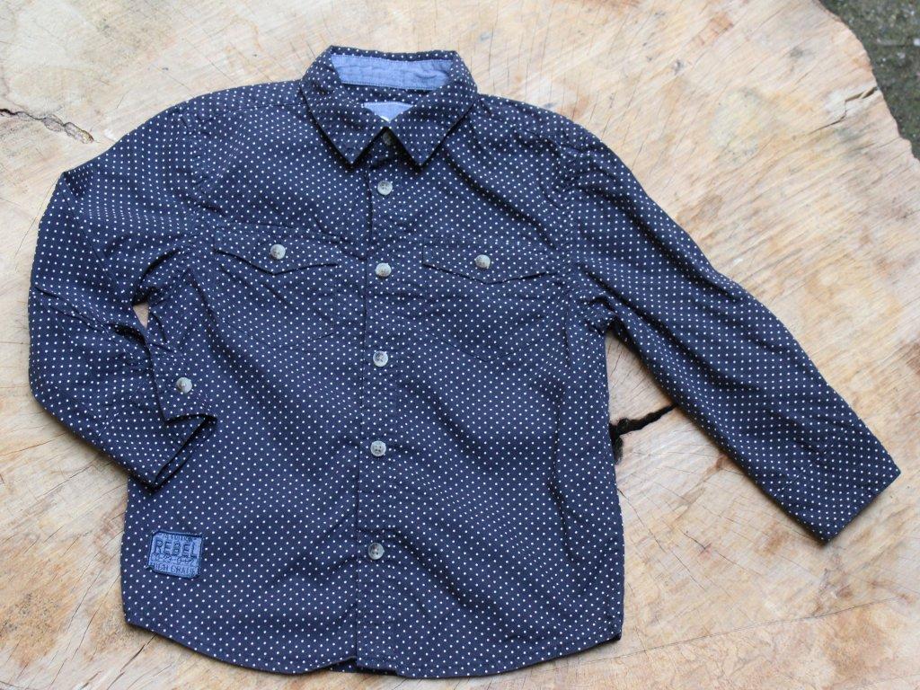 Košile Rebel tmavě modrá s puntíkem 5-6Y