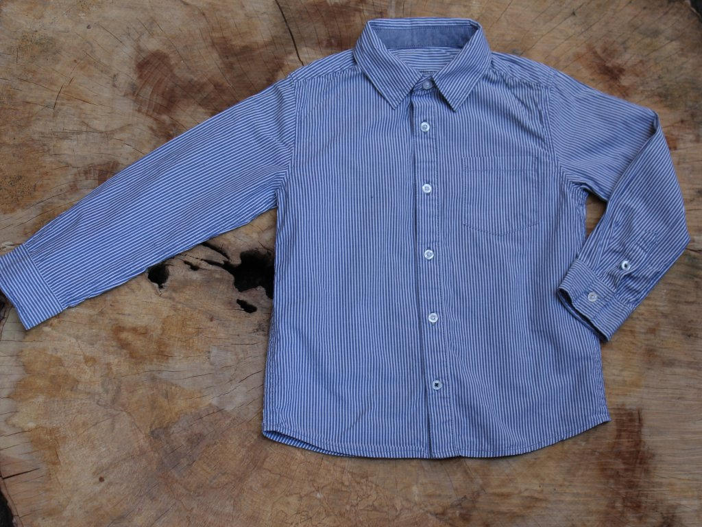 proužkovaná modro-bílá košile Monoprix 6Y