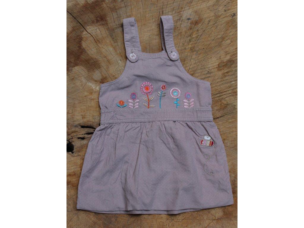 šedo-růžové manšestrové šaty s laclem Cherokee 9-12M